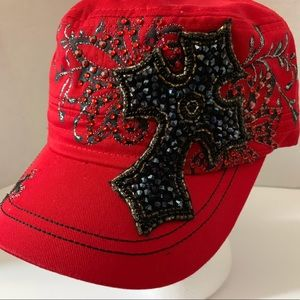 Accessories - Brand new Red with Black Crystal ladies cap